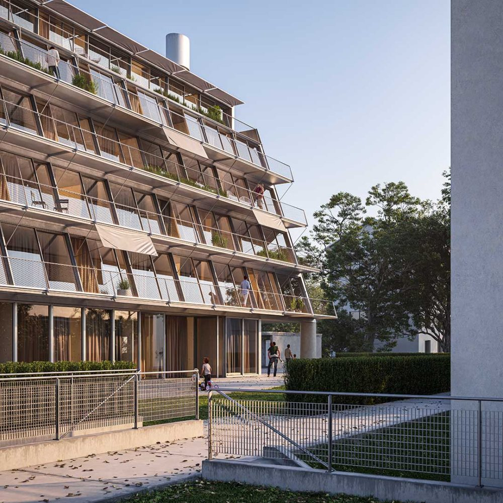 BURGFELDESTRASSE HOUSING designed by Parabase, rendered by Scuares