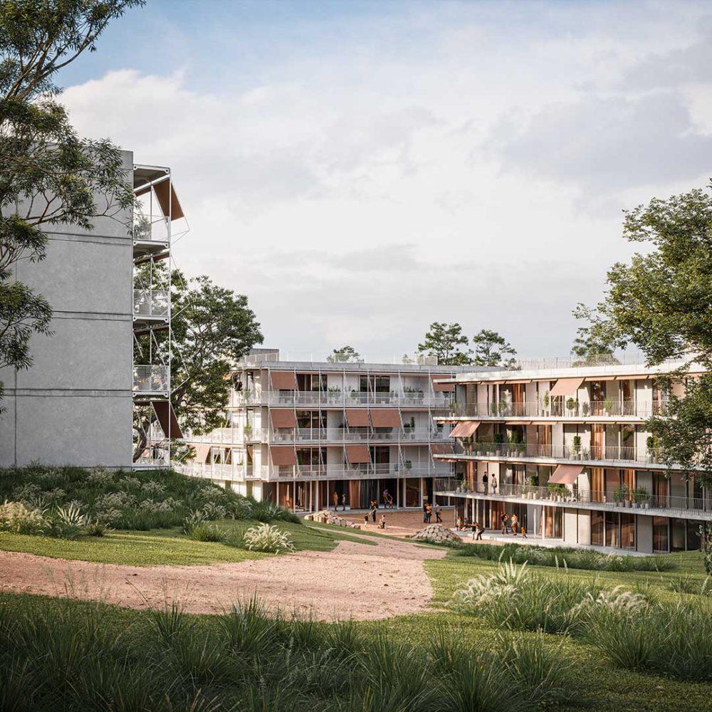 SALZWEG HOUSING MASTERPLAN designed by Parabase, rendered by Scuares